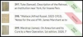 Meldte pass. Ingen ville bla opp nok penger for notatene til Alfred Russel Wallace. (Skjermdump: The Saleroom)