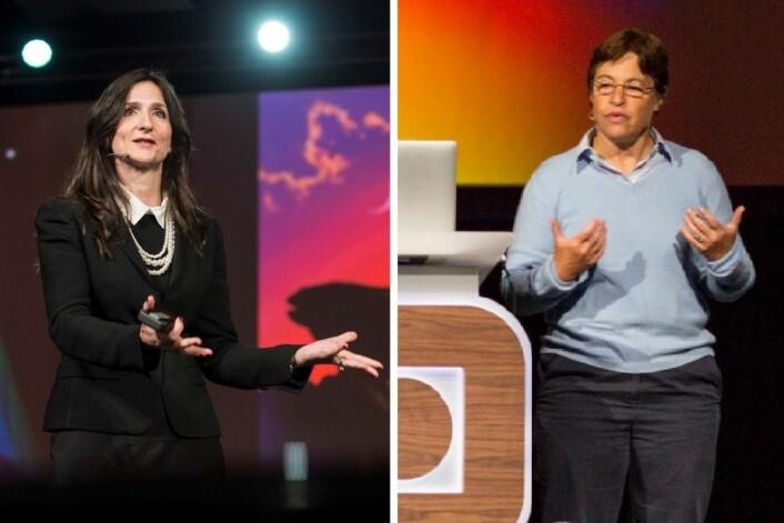 Sara Seager (til venstre) er professor ved Massachusetts Institute of Technology (MIT). Lynn Rothschild er astrobiolog hos Nasa. Begge holdt foredrag på Starmus-festivalen i Trondheim. (Foto: Max Alexander, Starmus og Trond Sverre Kristiansen, NTNU)
