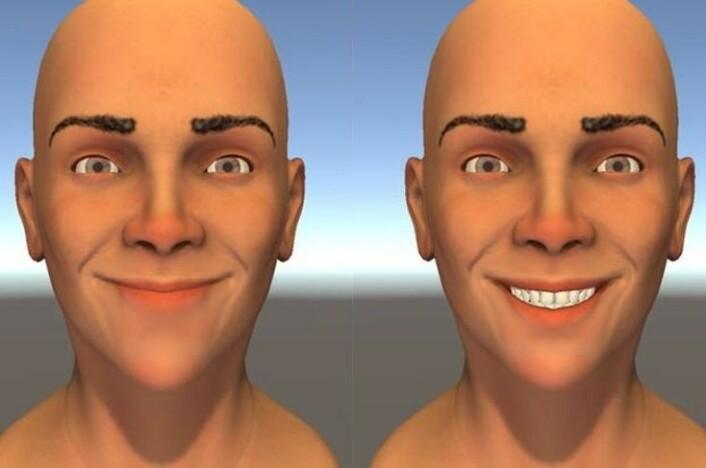 Hvis du først skal smile med tennene, bør du dra munnvikene oppover. Når vinkelen på smilet er skarpere, gjør du et bedre inntrykk ved å vise tenner, fant forskerne. (Foto: Helwig mfl. 2017)
