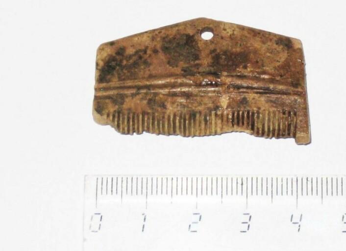 En kam fra middelalderen ble funnet i Stavanger. Det er trolig laget av reinsdyrgevir. (Foto: NIKU)