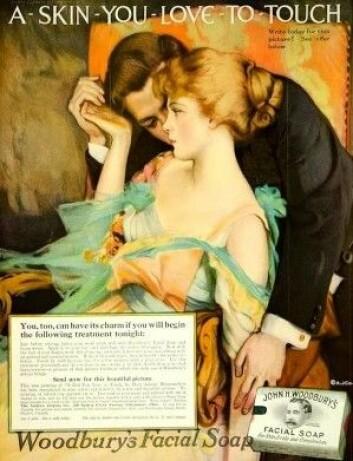 En av de første reklamene som spilte på sex fra Woodbury Soap Company. Slagordet «A skin you love to touch» ble såpass populært at firmaet brukte det helt fram til 40-tallet. (Foto: Wikimedia Commons)