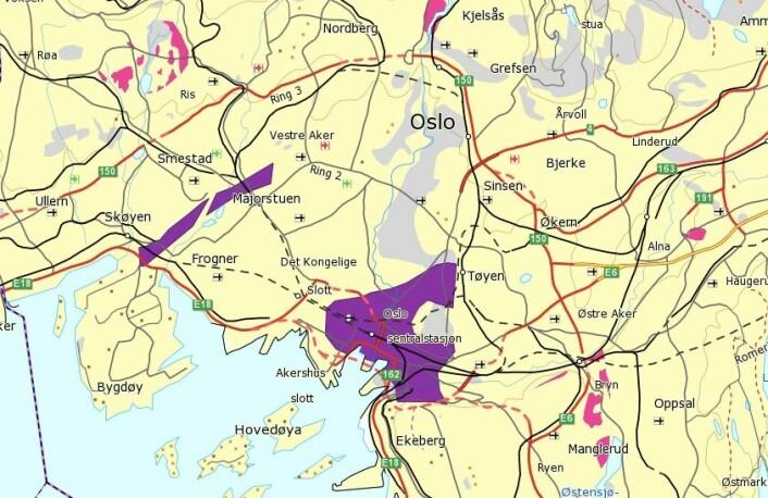 Oslo sentrum er et av stedene i Norge som har svært høye nivåer (lilla farge) av radon. Se på radonkartet hos NGU om du vil finne radonnivået der du bor.