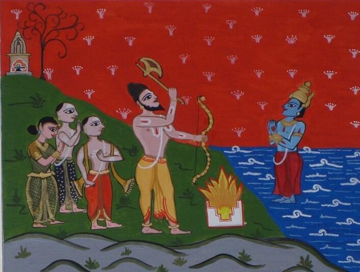 Gupta-dynastiet styrte India fra rundt år 280 til 550. Riket dekket det meste av Nord-India, Pakistan og Bangladesh. Det kan ha vært da India fikk dagens kastesystem. Bildet viser brahmineren Parasurama som vinner tilbake Kerala til prestekasten brahminenefra krigerkasten.
