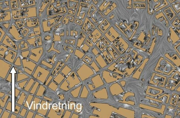 Illustrasjonen viser hvordan luften beveger seg i bygatene i Oslo sentrum når vinden kommer fra sør. (Bilde: FFI)