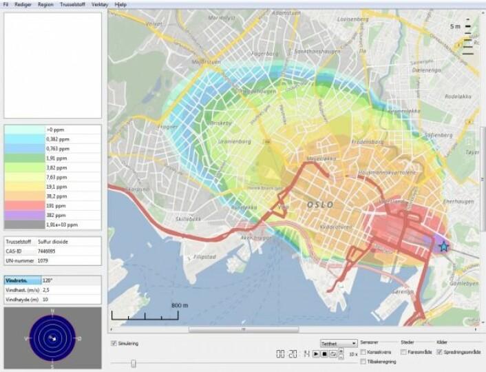 Her har CT-Analyst Oslo beregnet hvor stor konsentrasjonen av svoveldioksid er i ulike deler av Oslo sentrum 20 minutter etter utslipp av 55 tonn gass fra en jernbanevogn på Oslo S når det blåser 2,5 sekundmeter fra øst. (Bilde: FFI)