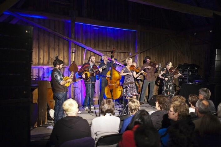 Folkemusikeren Sigrid Moldestad spiller sammen med musikere fra mange forskjellige land under en Blågras-konsert på Norsk Countrytreff. (Foto: Runar Sandnes)