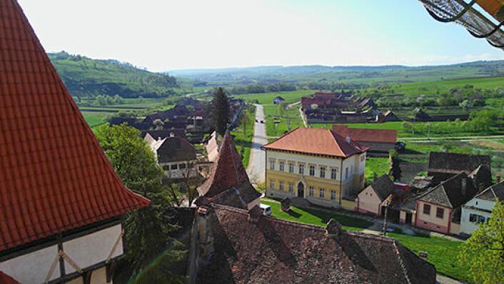 Landsbyen Dealu Frumos sett fra festningskirken. Navnet «Dealu Frumos» betyr «vakker ås» på rumensk, og det tyske navnet på landsbyen er Schönberg. (Foto: Ana-Maria Dabija)
