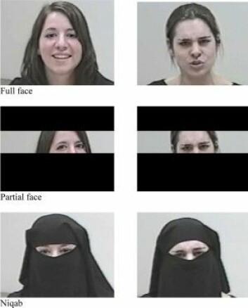 Forskerne brukte skuespillere i eksperimentet der folk skulle tyde følelsene til kvinner med og uten tildekket ansikt. (Foto: Skjermdump fra studie)