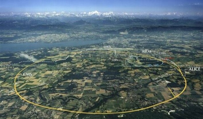 Skisse over Large Hadron Collider (LHC), som ligger gjemt under bakken i Sveits. (Foto: CERN)