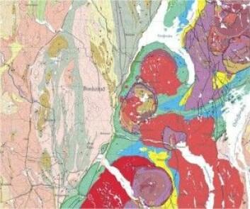 Berggrunnskart viser utbredelsen av forskjellige bergarter, men inneholder også informasjon om hvordan landet vårt er dannet: Dette kartutsnittet fra Osloregionen viser 1 milliard år gamle gneiser i lyse farger; i grønt, blått og gult fossilrike sedimenter avsatt i havet da jordens fauna var i forrykende utvikling for rundt 400-500 millioner år siden; samt rester av 250 million år gammel vulkanisme i rødt og lilla. (Kilde: NGU)