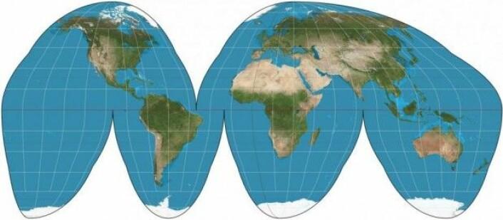 Goode homolosine-projeksjon ble tegnet av den amerikanske geografen og kartografen John Paul Goode. (Foto: Wikipedia/CC BY-SA 3.0)