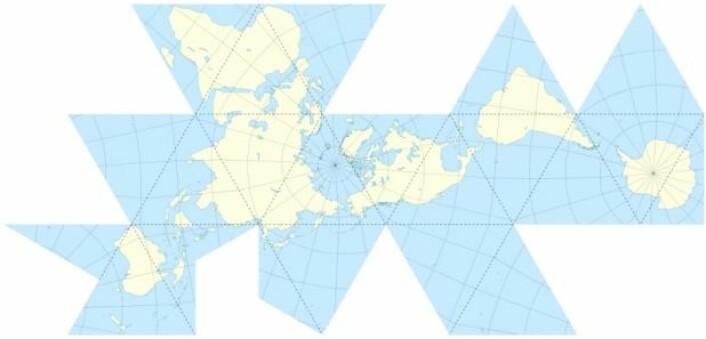 Dymaxion-kartet er også kjent som Fuller-kartet og ble utviklet av oppfinneren Buckminster Fuller i 1943. (Foto: Wikipedia)