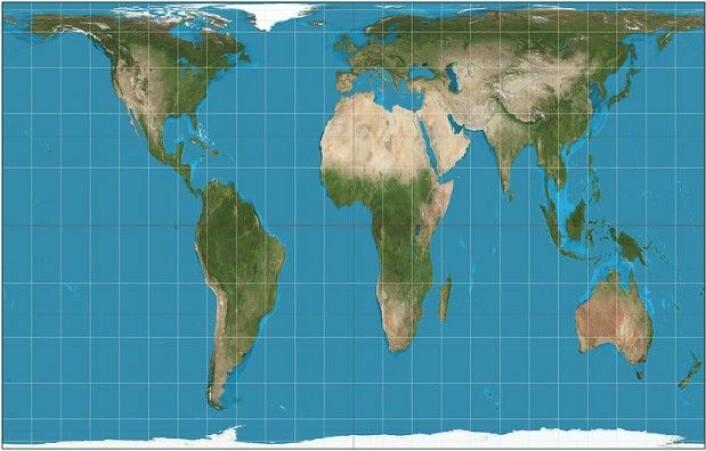 Gall-Peters-projeksjonen. Europa er ikke lenger verdens midtpunkt, mens Grønland har fått sin faktiske størrelse. (Foto: Wikipedia/Strebe CC BY-SA 3.0)