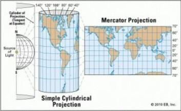 Mercator-projeksjonen er en såkalt sylindrisk projeksjon. (Foto: Britannica Online for Kids)