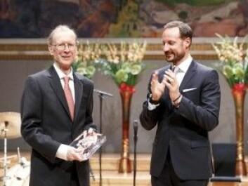 I 2016 var det Sir Andrew J. Wiles (til venstre) som fikk Abelprisen, den gangen var det kronprins Haakon som overrakk prisen på vegne av Vitenskapsakademiet. (Foto: Gorm Kallestad / NTB scanpix)