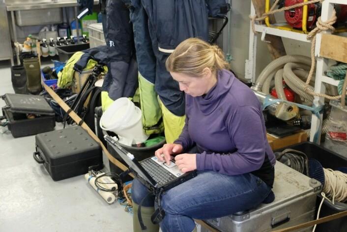 Tove Gabrielsen sjekker hva dagens fangst forteller om tilstanden i havet. Hun er forberedt på at Kystvakten har viktigere oppgaver enn å hjelpe forskere. (Foto: Eivind Torgersen)