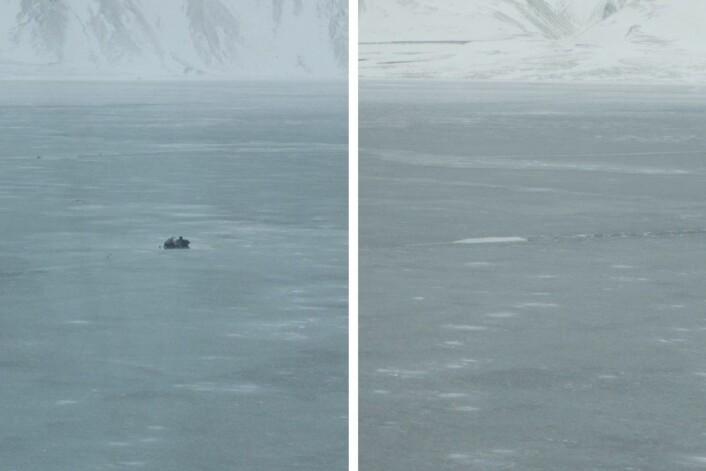 Til venstre: En forlatt snøscooter på isen i Tempelfjorden. Til høyre: Noen minutter senere var også denne scooteren forsvunnet gjennom isen. (Foto: Eivind Torgersen)
