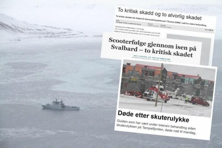 KV «Svalbard» har brøytet seg frem til ulykkesstedet. (Foto: Thor-Arild Hansen, Sysselmannen. Faksimiler fra Svalbardposten og Aftenposten)