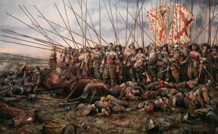 Under 30-årskrigen allierte partene seg litt på kryss og tvers av trosretningene. Her fra slaget ved Rocroi. (Maleri: Augusto Ferrer-Dalmau)