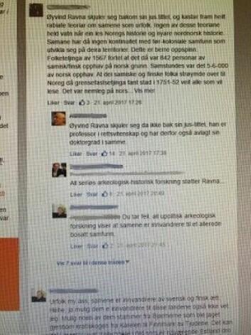 Et utsnitt fra kommentarfeltene i kjølvannet av en av Øyvind Ravnas kronikker i Nordlys. (Foto: UiT)