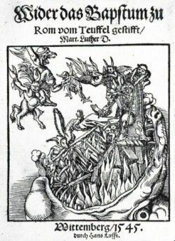 Martin Luther skrev mot slutten av livet det heller gretne skriftet «Mot pavedømmet innstiftet av djevelen». (Illustrasjon: Lucas Cranach den eldre)