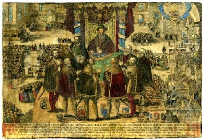 Religionsfred i Augsburg 1555. Partene blir enige. Fyrsten bestemmer undersåttenes religion, og i praksis må de religiøse gruppene bo i ulike områder. (Illustrasjon: Johann Dürr, The British Museum)