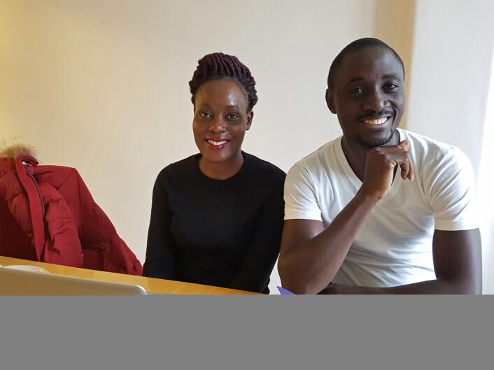 Allen Nsangi og Daniel Semakula vil at opplæring i kritisk tenkning skal bli pensum i Uganda.(Foto: Ida Kvittingen, forskning.no)