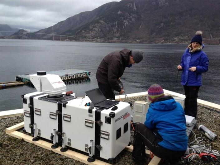 Her ser vi forskerne i aksjon sammen med laserinstrumentet, en langrekkevide-lidar med navn WindCube100S, plassert ved Lysefjordsenteret. Lysefjordbrua er i bakgrunnen. UiS-forskerne Jasna B. Jakobsen med ryggen til og Etienne Cheynet, begge fra UiS, og Valerie Kummer fra UiB. (Foto: Benny Svardal / CMR)