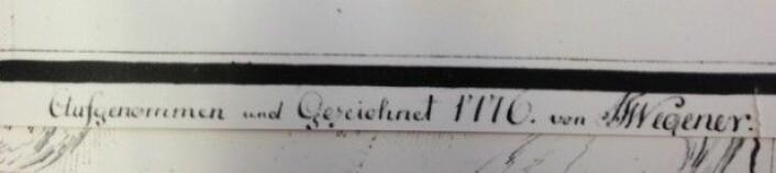 Johann Theodor Wegener, dansk offiser, var med på å måle opp navne og nedtegne stedsnavn. Hans signatur går igjen i arkivet på Statens kartverk.